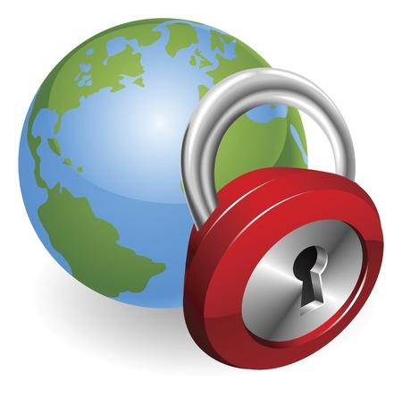 defend: Lock and globe security concept illustration Illustration
