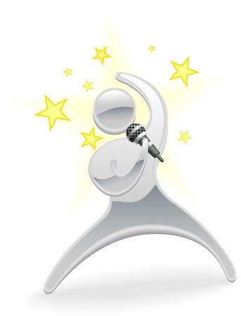rock singer: Metallic cartoon mascot character pop star singer concept