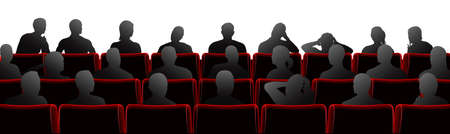 theater seat: Audience sat in theatre or cinema style chairs