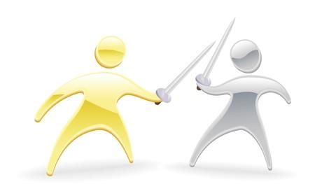 negotiations: Metallic cartoon mascot character concept. Sword fight duel.