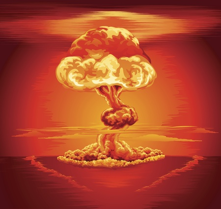 atomic explosion: Illustration of a mushroom cloud following a nuclear explosion Illustration