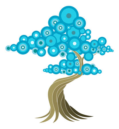 Abstract tree illustration of oriental style tree with blue circles. Vector