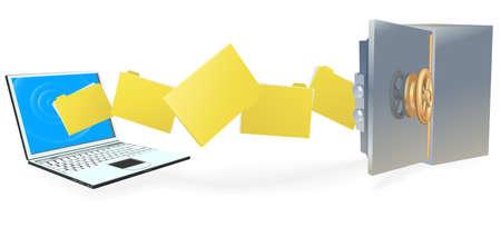 compartiendo: Equipo port�til, carga o descarga de archivos al servidor de internet seguro o copia de forma segura. Vectores
