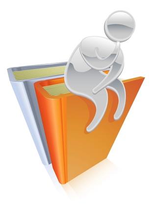 Metallic cartoon mascot character sitting on books thinking concept Stock Vector - 10709247