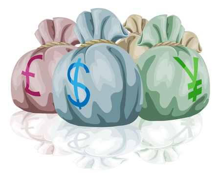 Money bag sacks containing different world currencies. Pound, dollar and yen symbols showing. Vector