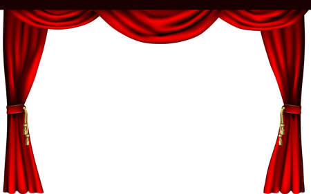 red theater curtain: A set of theatre or cinema style curtains