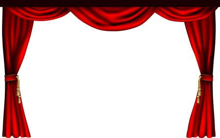 rideau sc�ne: Un ensemble de rideaux de style th��tre ou le cin�ma. Illustration
