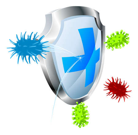 Shield with virus or bacteria bouncing off it. Antibacterial or antiviral concept. Could also represent computer virus. Vector