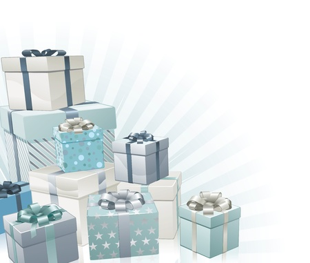 christmas gifts: Christmas gifts silver blue corner background element.