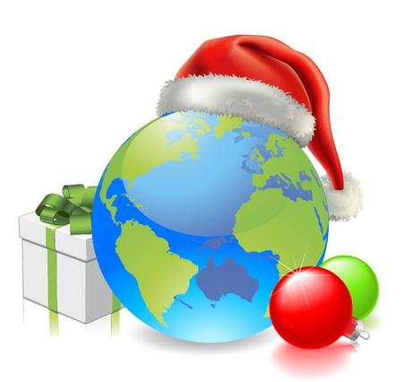 wereldbol groen: Kerst wereldbol met kerstmuts, cadeau-en kerstballen