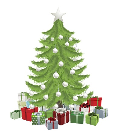 Traditional green Christmas tree with baubles and gifts. Vector