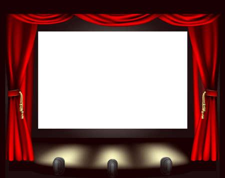 Illustratie van de cinema scherm, verlichting en gordijnen