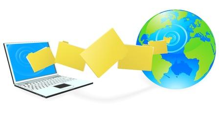 overdracht: Laptop computer uploaden of downloaden van bestanden op het internet vertegenwoordigd door wereld. Stock Illustratie