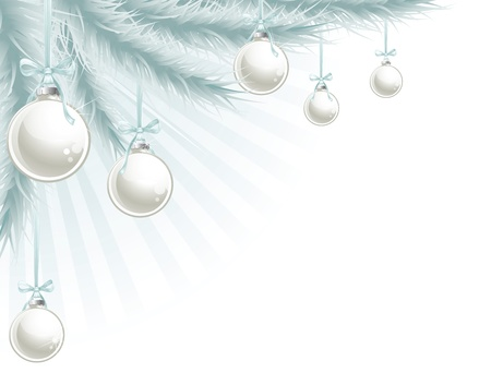 christmas ball isolated: Christmas tree and baubles silver blue corner background element. Illustration