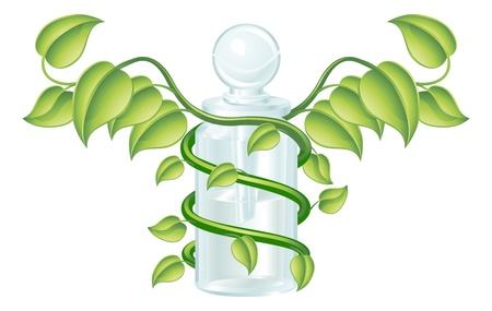 Natural caduceus bottle concept, could be homoeopathy bottle or other natural remedy. Vector