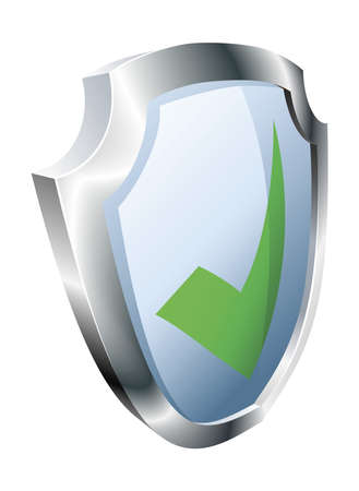 green tick: Tick shield security concept. Shield with green tick icon.  Illustration