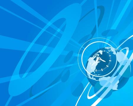 news background: Blue globe clock background illustration