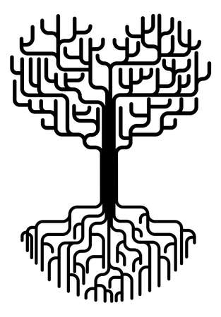 tree outline: Conceptual abstract tree silhouette illustration. Tree with branches in the shape of a heart with strong roots. Love needing strong foundations or just concept for love.