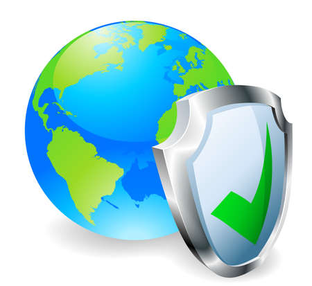 Globe with shield icon with green tick. Concept for internet security or antivirus or firewall etc. Vector