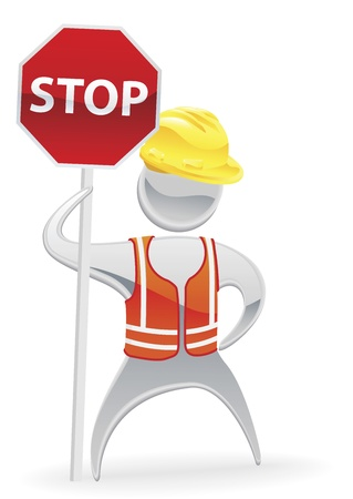 metal worker: Metallic cartoon mascot character stop sign workman concept