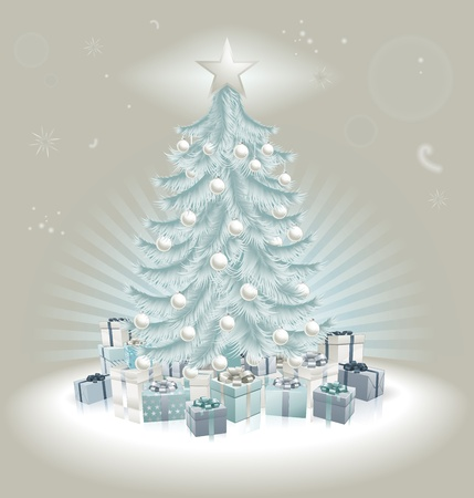 Christmas silver blue Christmas tree, balls and gifts. Vector
