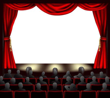 telon de teatro: Cine con cortinas y audiencia. Espacio para colocar nada en el escenario. Vectores