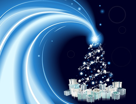 Modern style Christmas tree background. Blue and silver Christmas tree with star, baubles and gifts. Vector
