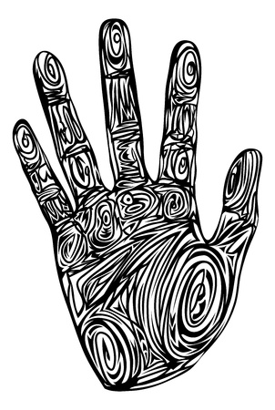 thumb print: Graphic of a hand print made up of abstract patterns