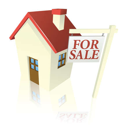satılık: Illustration of a house for sale with for sale sign Çizim