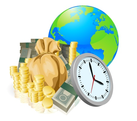 World globe money time business concept. Time is money, international business concept. Vector