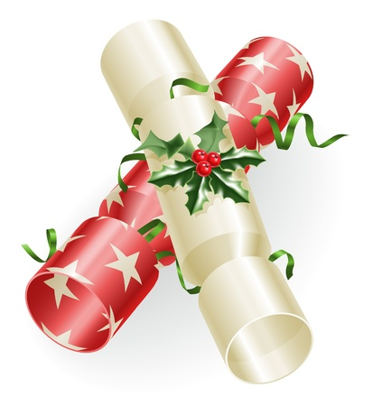 An illustration of Christmas crackers with holly and ribbons Illustration