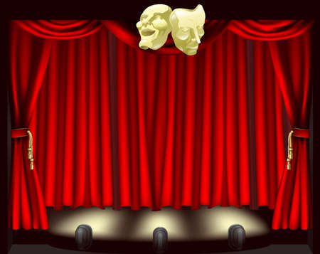 comedy tragedy: Theatre stage with curtains, footlights, and comedy and tragedy masks
