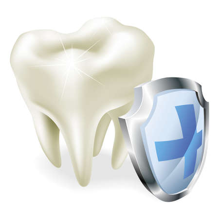 karies: Skyddade tänder koncept. Shiny tand illustration med skyddande sköld symbol.