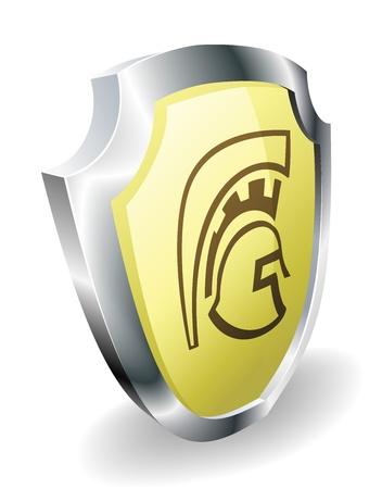spartano: Un spartano, Trojan, o romano scudo concetto di sicurezza. Scudo con l'icona casco. Vettoriali