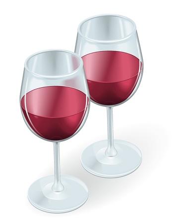 weingläser: Zwei Weingl�ser Seite an Seite mit Rotwein gef�llt Illustration