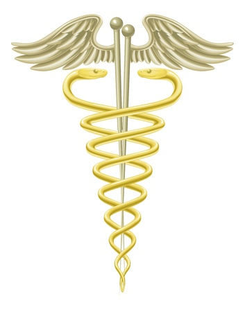 caduceus: A medical caduceus with acupuncture needles for traditional acupuncture alternative medicine.