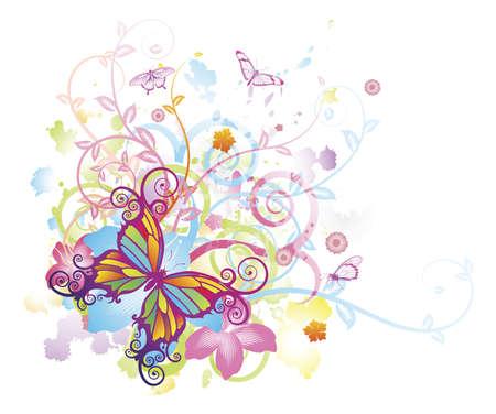 抽象的なカラフルな蝶の背景に様式化された花の要素、パターン、水しぶき