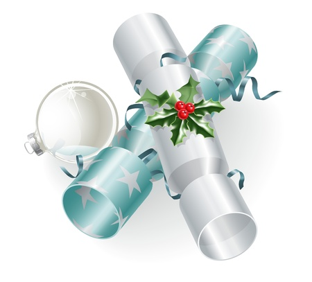 An illustration of turquoise blue and silver Christmas crackers with holly, ribbons and Christmas ball bauble decoration. Vector