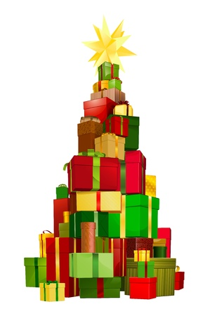 stacked: Illustration of a stack of gifts piled up in a Christmas tree shape with star on top Illustration