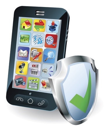 mobile security: Mobile phone with shield tick icon indicating it is protected, safe, secure or insured. Illustration