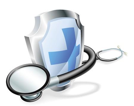 estetoscopio corazon: Escudo con el estetoscopio envuelto alrededor de él el concepto de salud médica