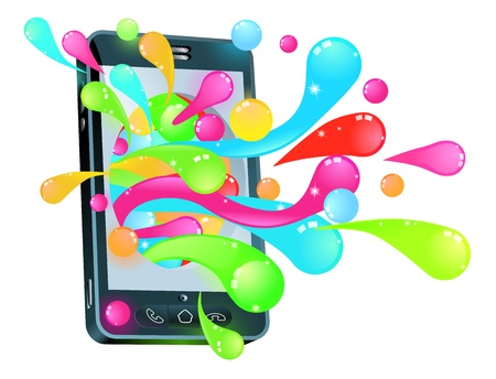 Mobile phone smartphone with jelly bubbles coming out of it Stock Vector - 11070678