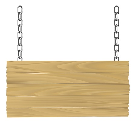 hanging sign: Illustration of an old wooden sign suspended on chains