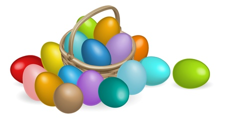 A Basket full of colourful painted Easter eggs Vector