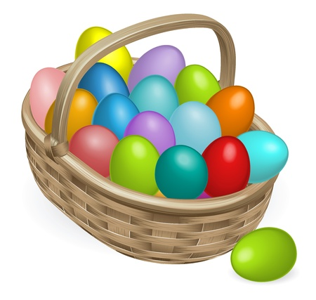 chocolate egg: Colourful painted Easter eggs in a wooden basket