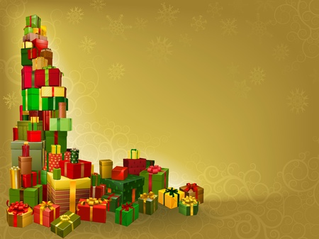 stacked: A gold Christmas background with gifts corner element Illustration