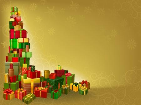 stapel papieren: Een gold Christmas achtergrond met geschenken hoekelement