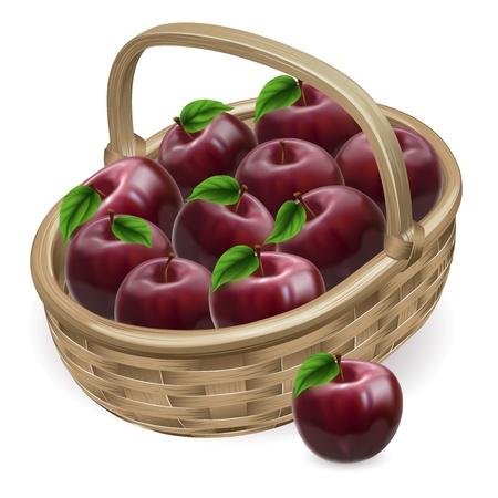 canastas con frutas: Ilustración de una cesta de productos frescos sabrosos brillante manzana roja