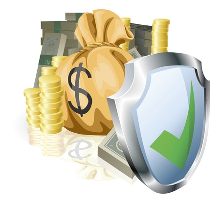 Stacks of money being protected by a indicating it is secure or guaranteed Stock Vector - 11070816