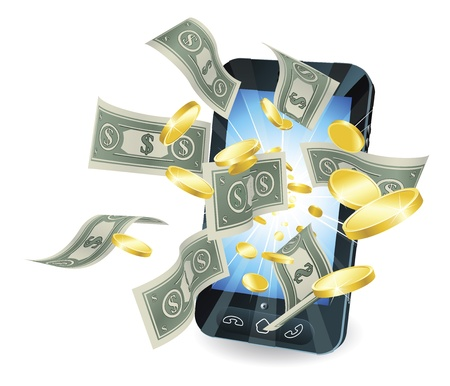 Money flying out of new style smart mobile phone. Vector
